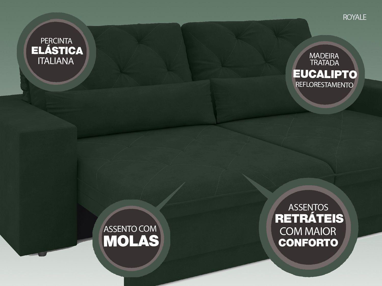 Sofá 4 Lugares Net Royale Assento Retrátil e Reclinável Verde 2,30m (L)