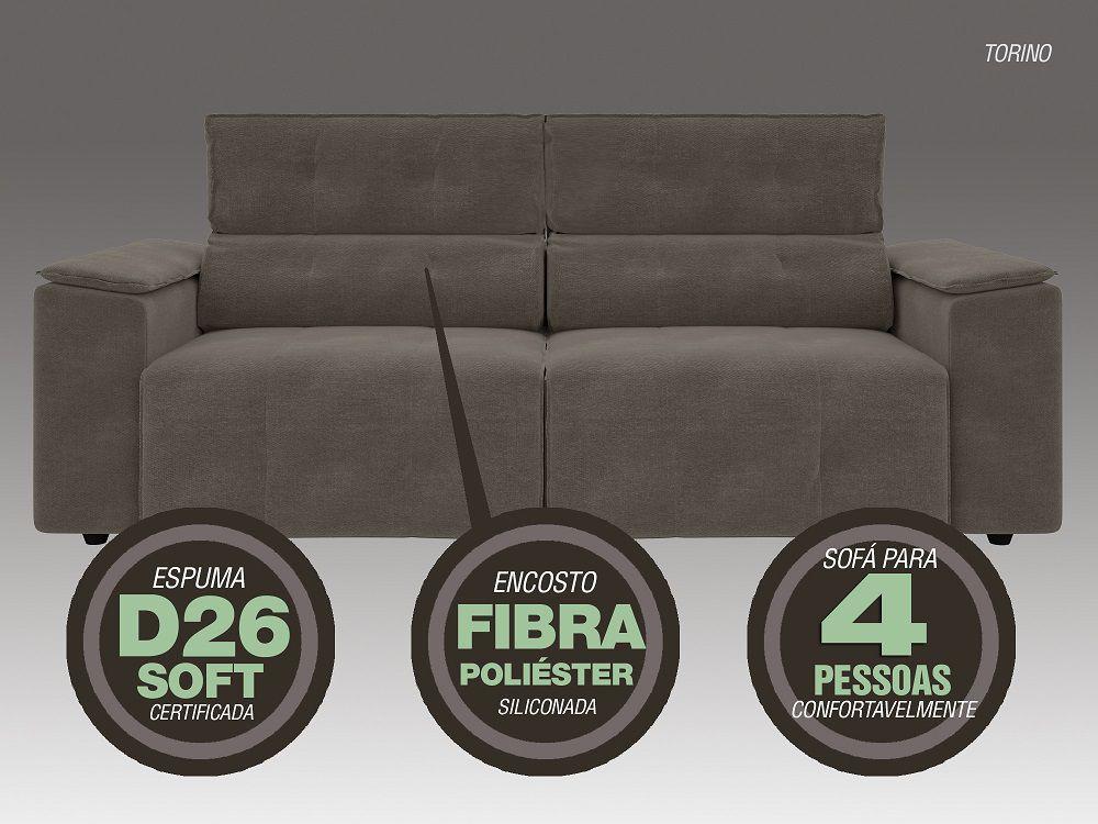Sofá 4 Lugares Net Torino Assento Retrátil e Reclinável Bege 2,30m (L)  - NETSOFÁS