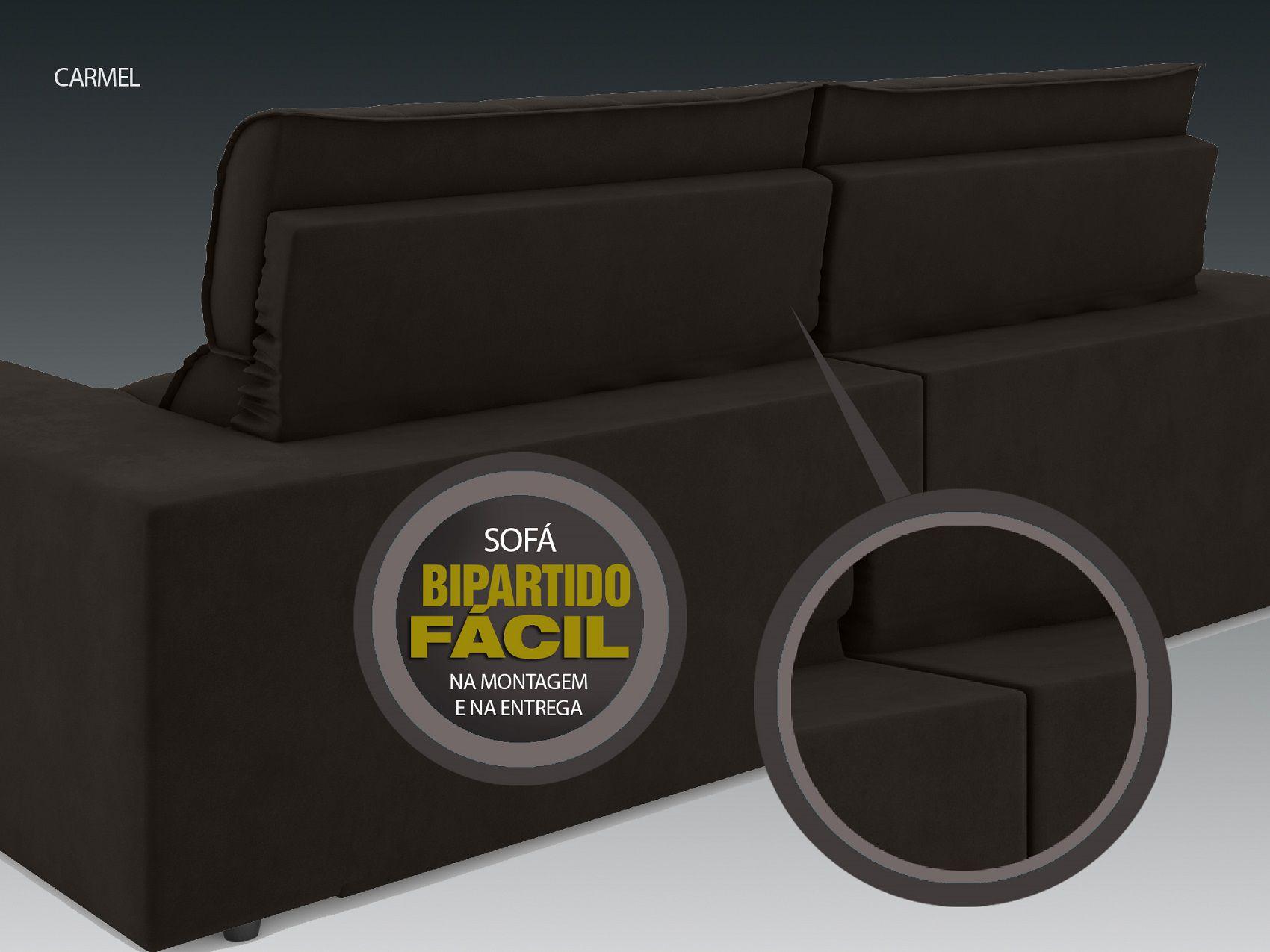 Sofá 5 Lugares Net Carmel Assento Retrátil e Reclinável Chocolate 2,50m