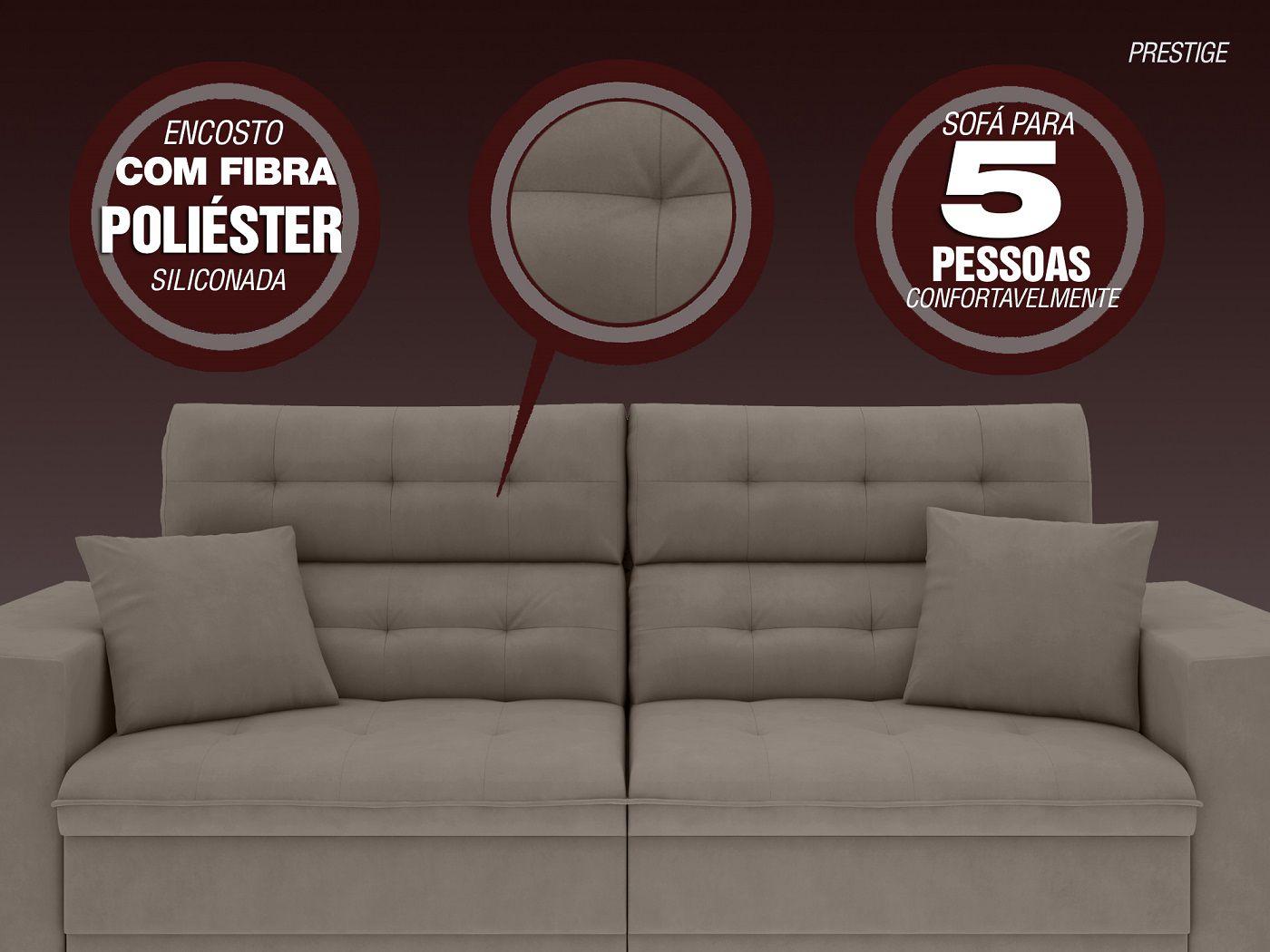 Image of: Sofa 5 Lugares Net Prestige Assento Retratil E Reclinavel Bege 2 50m L Netsofas