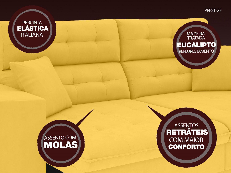 Sofá 5 Lugares Net Prestige Assento Retrátil e Reclinável Canário 2,50m (L)  - NETSOFÁS