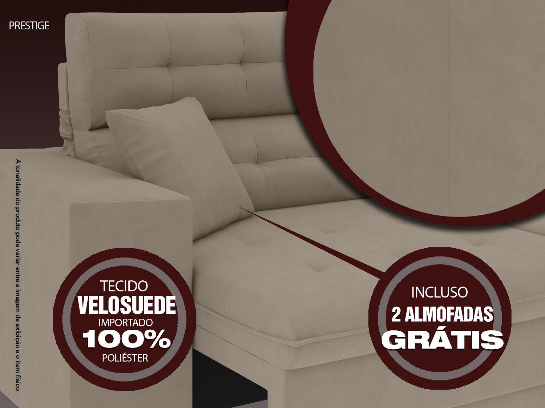 Sofá 5 Lugares Net Prestige Assento Retrátil e Reclinável Capuccino 2,50m (L)