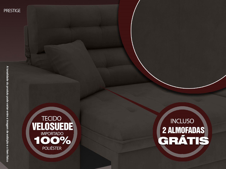 Sofá 5 Lugares Net Prestige Assento Retrátil e Reclinável Chocolate 2,50m (L)