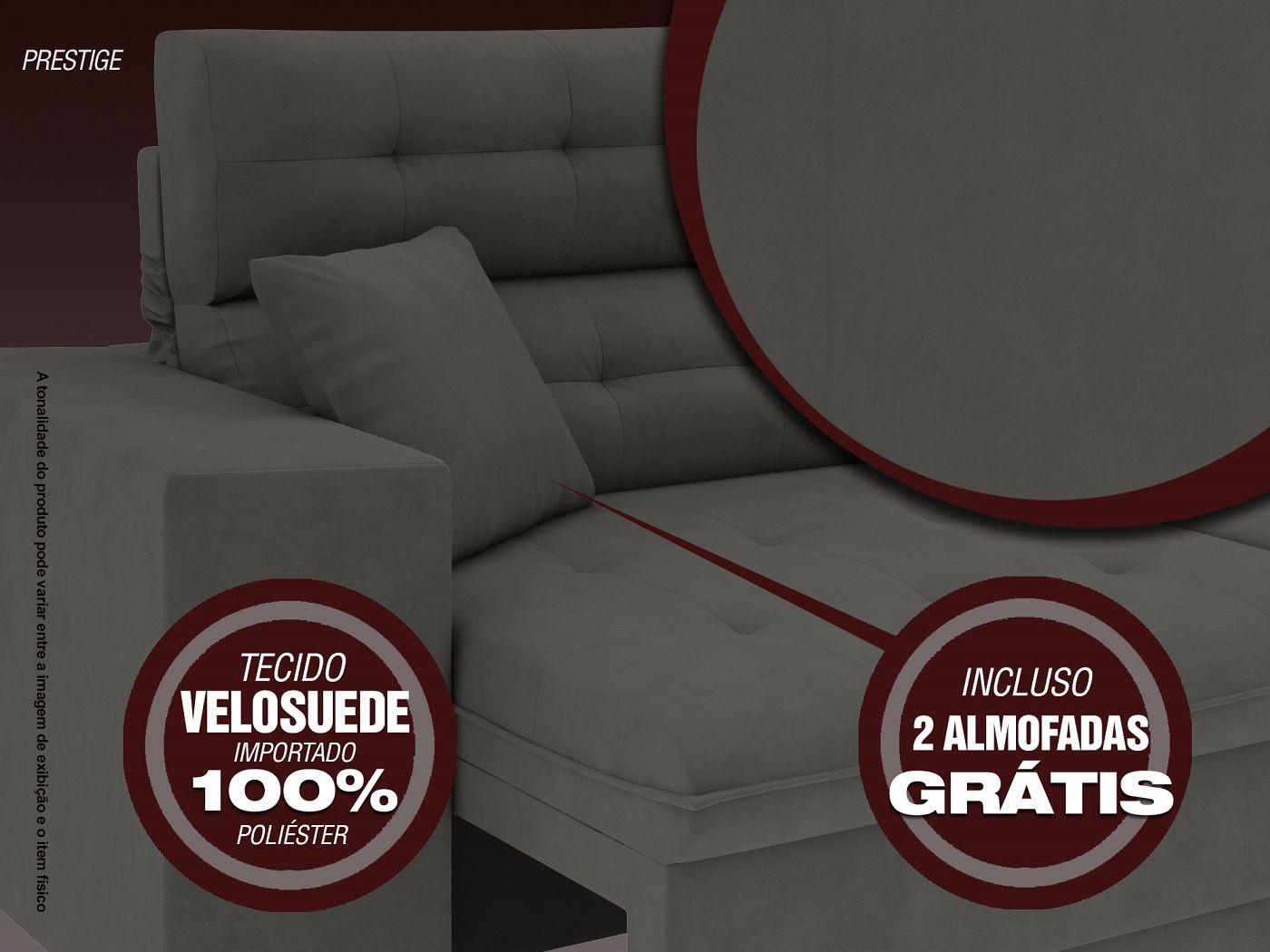 Sofá 5 Lugares Net Prestige Assento Retrátil e Reclinável Cinza 2,50m (L)