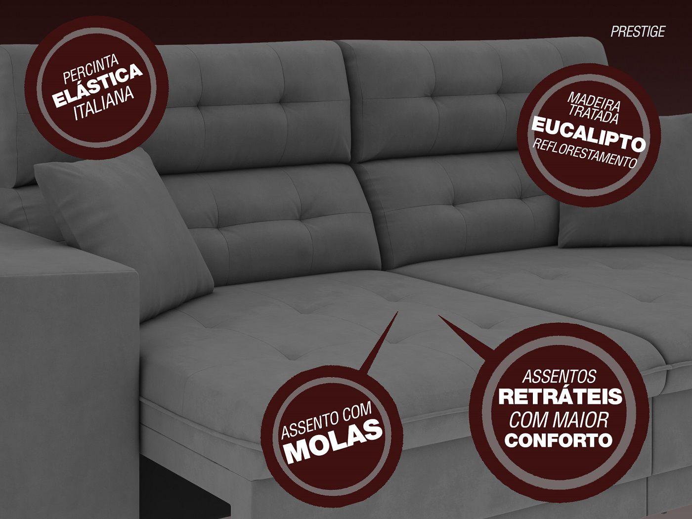 Sofá 5 Lugares Net Prestige Assento Retrátil e Reclinável Grafite 2,50m (L)  - NETSOFÁS