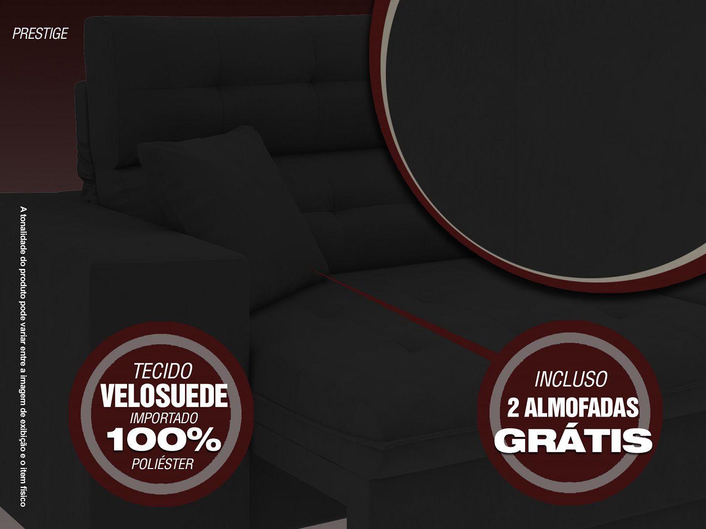 Sofá 5 Lugares Net Prestige Assento Retrátil e Reclinável Preto 2,50m (L)