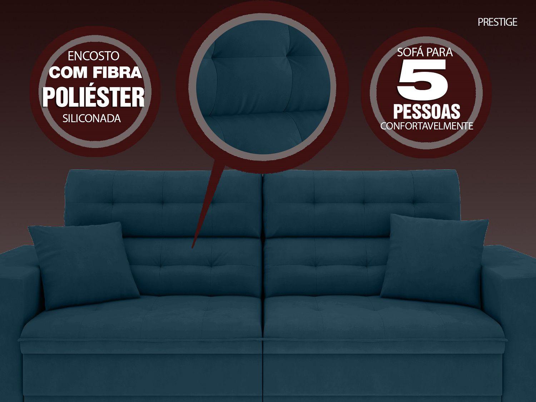 Sofá 5 Lugares Net Prestige Assento Retrátil e Reclinável Royal 2,50m (L)