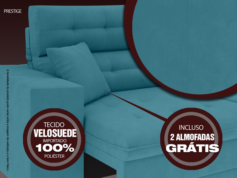 Sofá 5 Lugares Net Prestige Assento Retrátil e Reclinável Turquesa 2,50m (L)  - NETSOFÁS