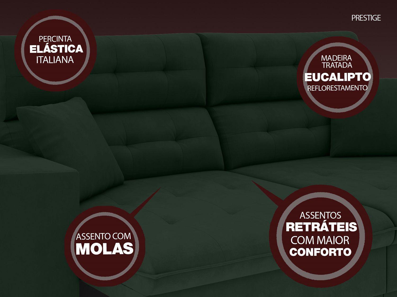 Sofá 5 Lugares Net Prestige Assento Retrátil e Reclinável Verde 2,50m (L)  - NETSOFÁS