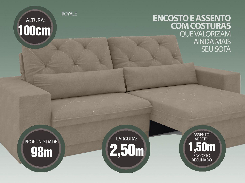 Sofá 5 Lugares Net Royale Assento Retrátil e Reclinável Capuccino 2,50m (L)