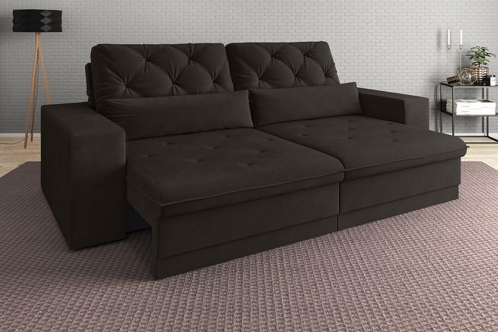 Sofá 5 Lugares Net Royale Assento Retrátil e Reclinável Chocolate 2,50m (L)
