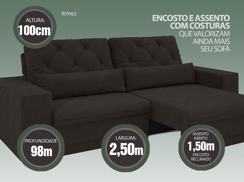 Sofá 5 Lugares Net Royale Assento Retrátil e Reclinável Chocolate 2,50m (L)  - NETSOFÁS
