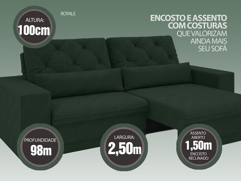 Sofá 5 Lugares Net Royale Assento Retrátil e Reclinável Verde 2,50m (L)  - NETSOFÁS