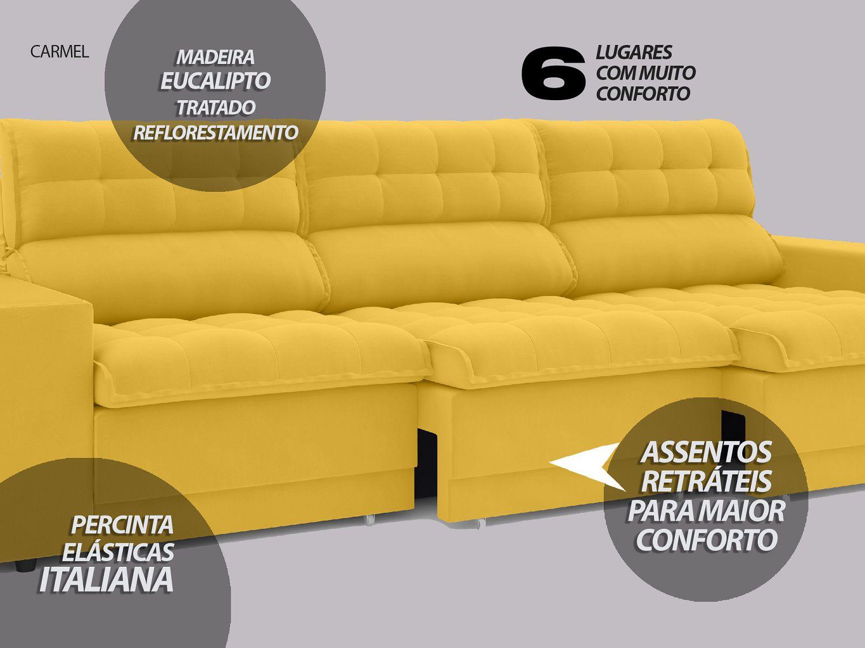 Sofá 6 Lugares Net Carmel Assento Retrátil e Reclinável Canário 2,85m  - NETSOFÁS