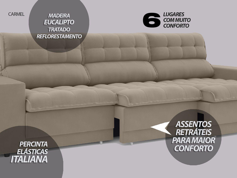Sofá 6 Lugares Net Carmel Assento Retrátil e Reclinável Capuccino 2,85m