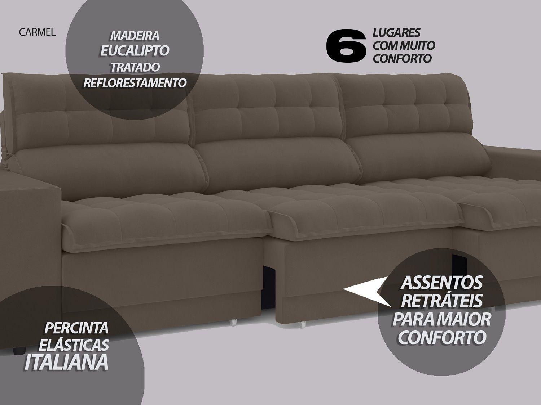 Sofá 6 Lugares Net Carmel Assento Retrátil e Reclinável Marrom 2,85m  - NETSOFÁS