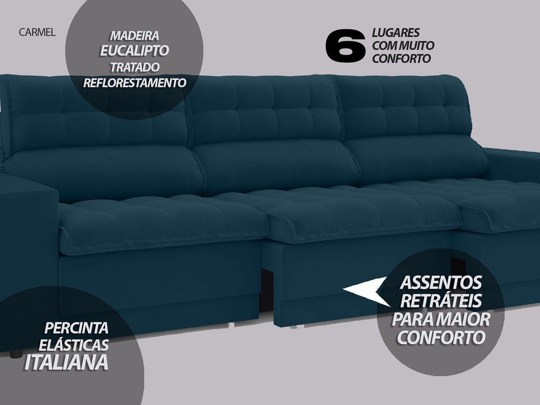 Sofá 6 Lugares Net Carmel Assento Retrátil e Reclinável Royal 2,85m  - NETSOFÁS