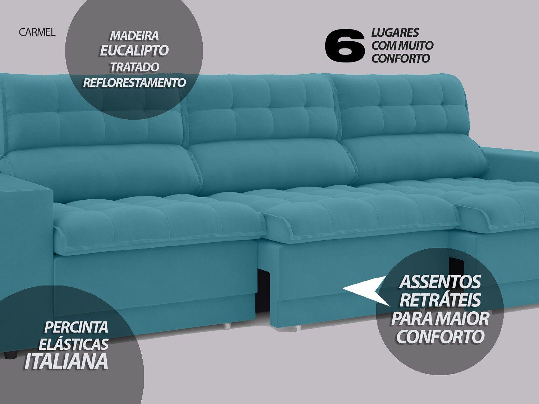 Sofá 6 Lugares Net Carmel Assento Retrátil e Reclinável Turquesa 2,85m  - NETSOFÁS