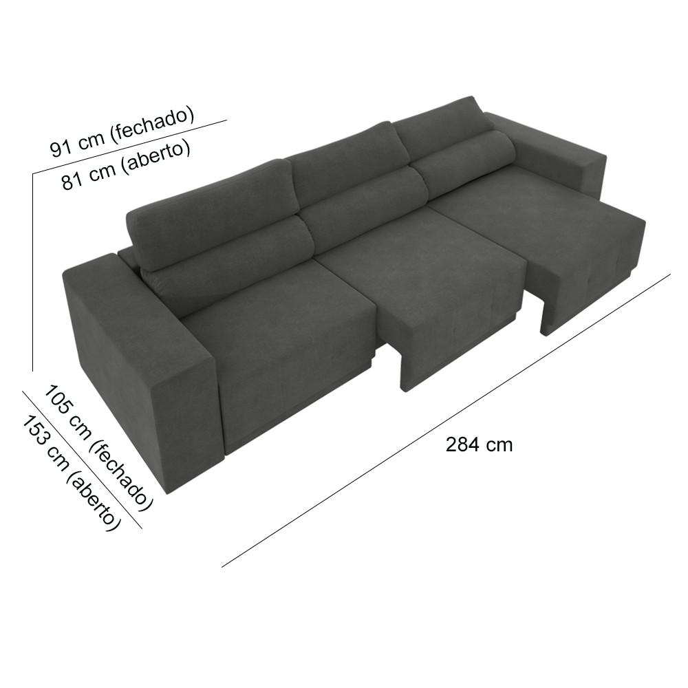 Sofá 6 lugares Net Reale Assento Retrátil e Reclinável Suede Cinza 2,84m (L)  - NETSOFÁS