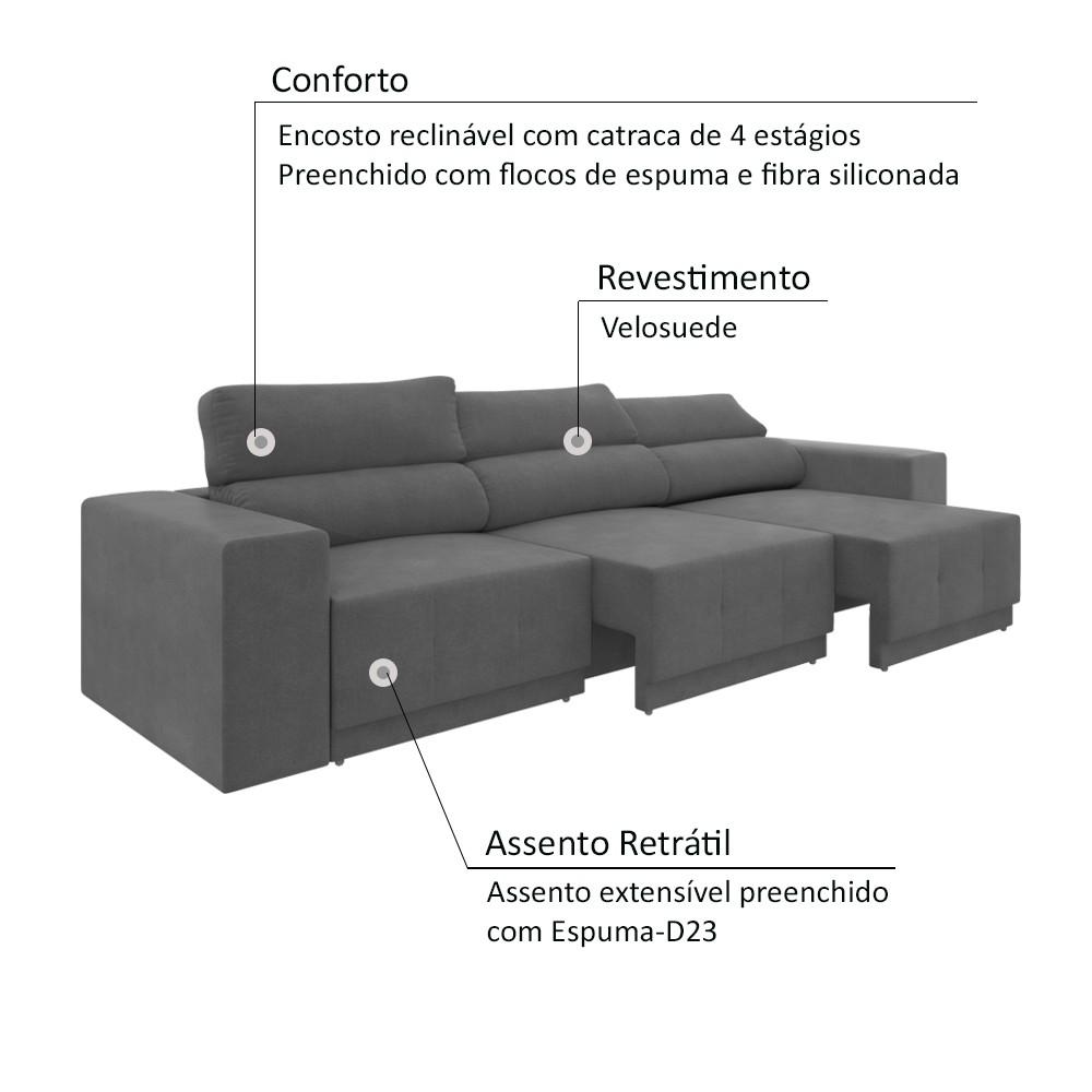 Sofá 6 lugares Net Reale Assento Retrátil e Reclinável Suede Grafite 2,84m (L)