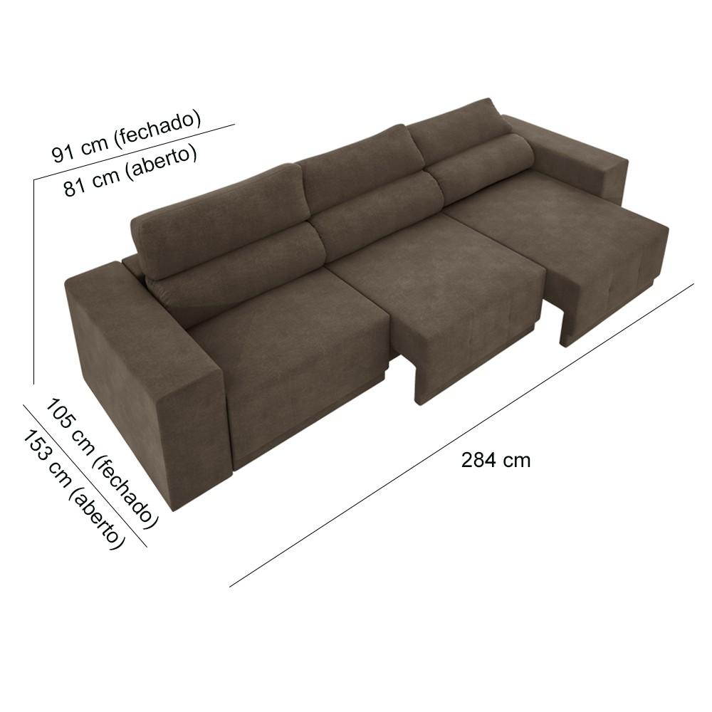 Sofá 6 lugares Net Reale Assento Retrátil e Reclinável Suede Marrom 2,84m (L)  - NETSOFÁS