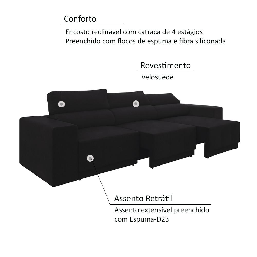 Sofá 6 lugares Net Reale Assento Retrátil e Reclinável Suede Preto 2,84m (L)  - NETSOFÁS