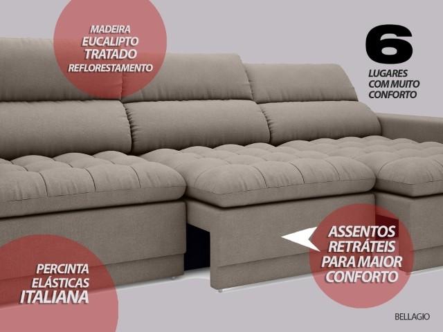Sofá Bellagio 2,85m Assento Retrátil e Reclinável Velosuede Bege - NETSOFAS  - NETSOFÁS