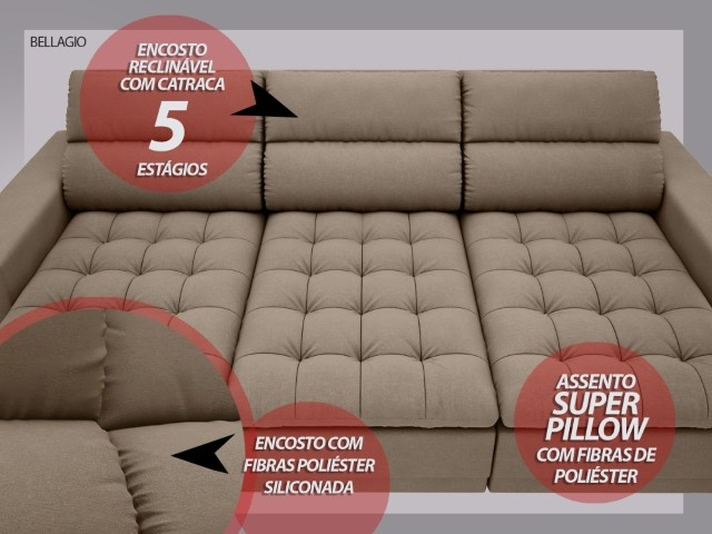 Sofá Bellagio 2,85m Assento Retrátil e Reclinável Velosuede Capuccino - NETSOFAS  - NETSOFÁS