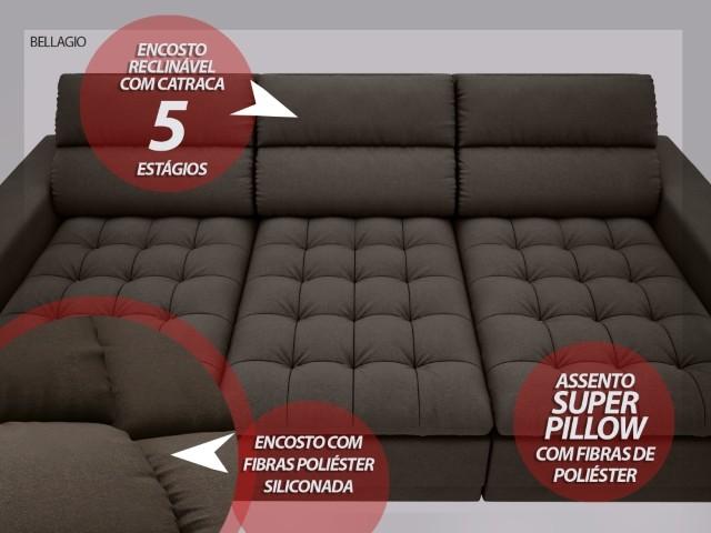Sofá Bellagio 2,85m Assento Retrátil e Reclinável Velosuede Chocolate - NETSOFAS  - NETSOFÁS