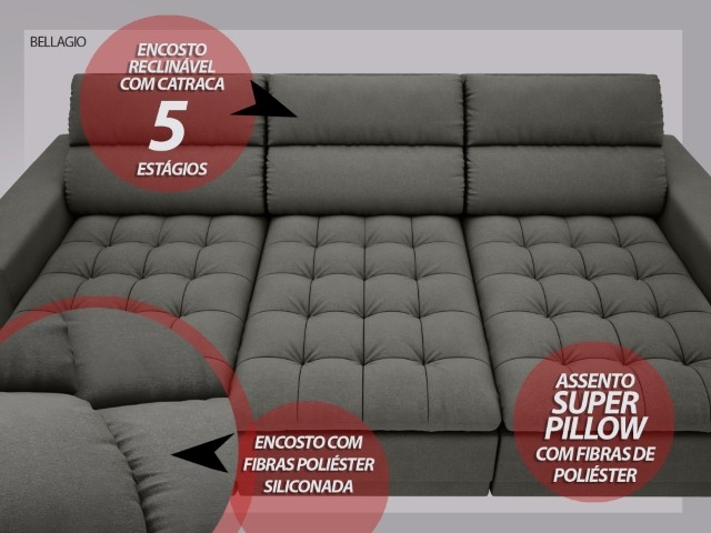 Sofá Bellagio 2,85m Assento Retrátil e Reclinável Velosuede Cinza - NETSOFAS