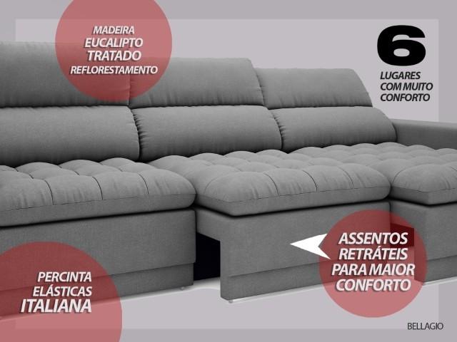 Sofá Bellagio 2,85m Assento Retrátil e Reclinável Velosuede Grafite - NETSOFAS  - NETSOFÁS
