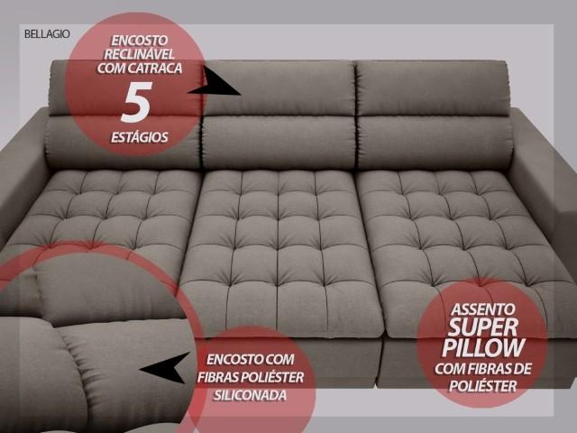 Sofá Bellagio 2,85m Assento Retrátil e Reclinável Velosuede Marrom - NETSOFAS  - NETSOFÁS