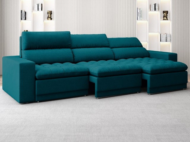 Sofá Bellagio 2,85m Assento Retrátil e Reclinável Velosuede Royal - NETSOFAS