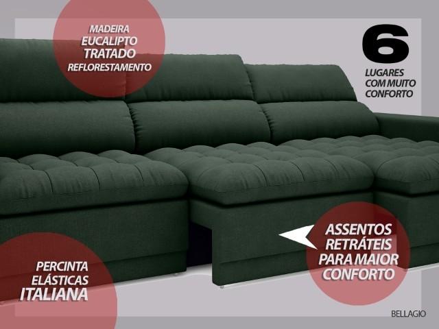 Sofá Bellagio 2,85m Assento Retrátil e Reclinável Velosuede Verde - NETSOFAS  - NETSOFÁS