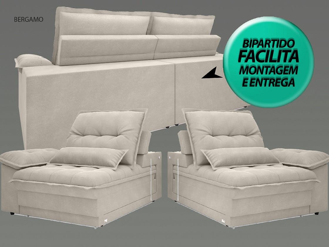 Sofá Bergamo 2,10m Assento Retrátil e Reclinável Velosuede Areia - NETSOFAS