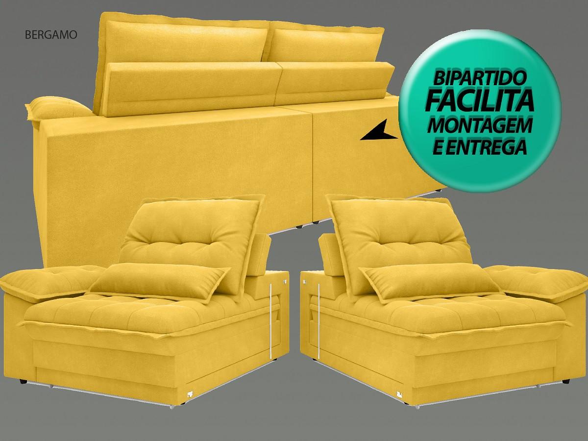 Sofá Bergamo 2,10m Assento Retrátil e Reclinável Velosuede Canário - NETSOFAS