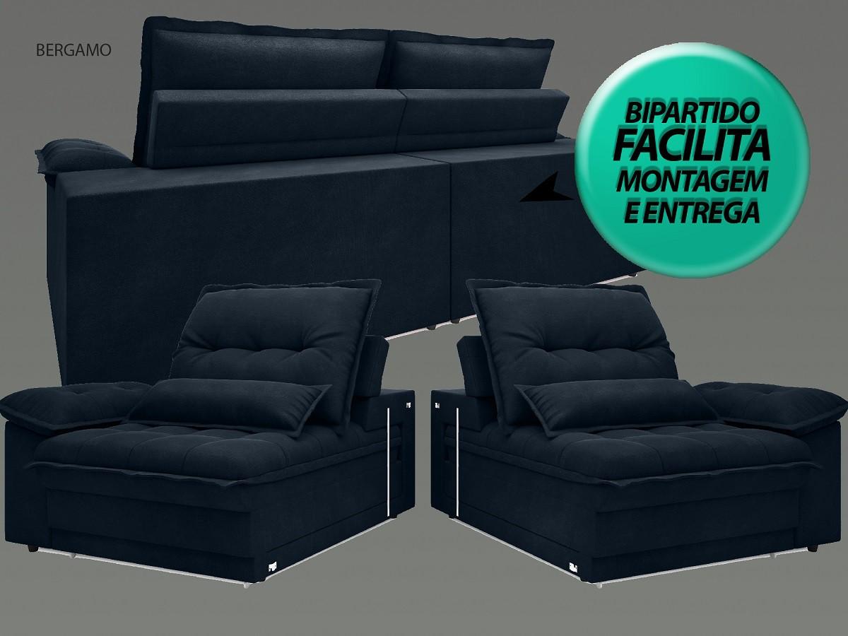 Sofá Bergamo 2,10m Assento Retrátil e Reclinável Velosuede Petróleo - NETSOFAS  - NETSOFÁS