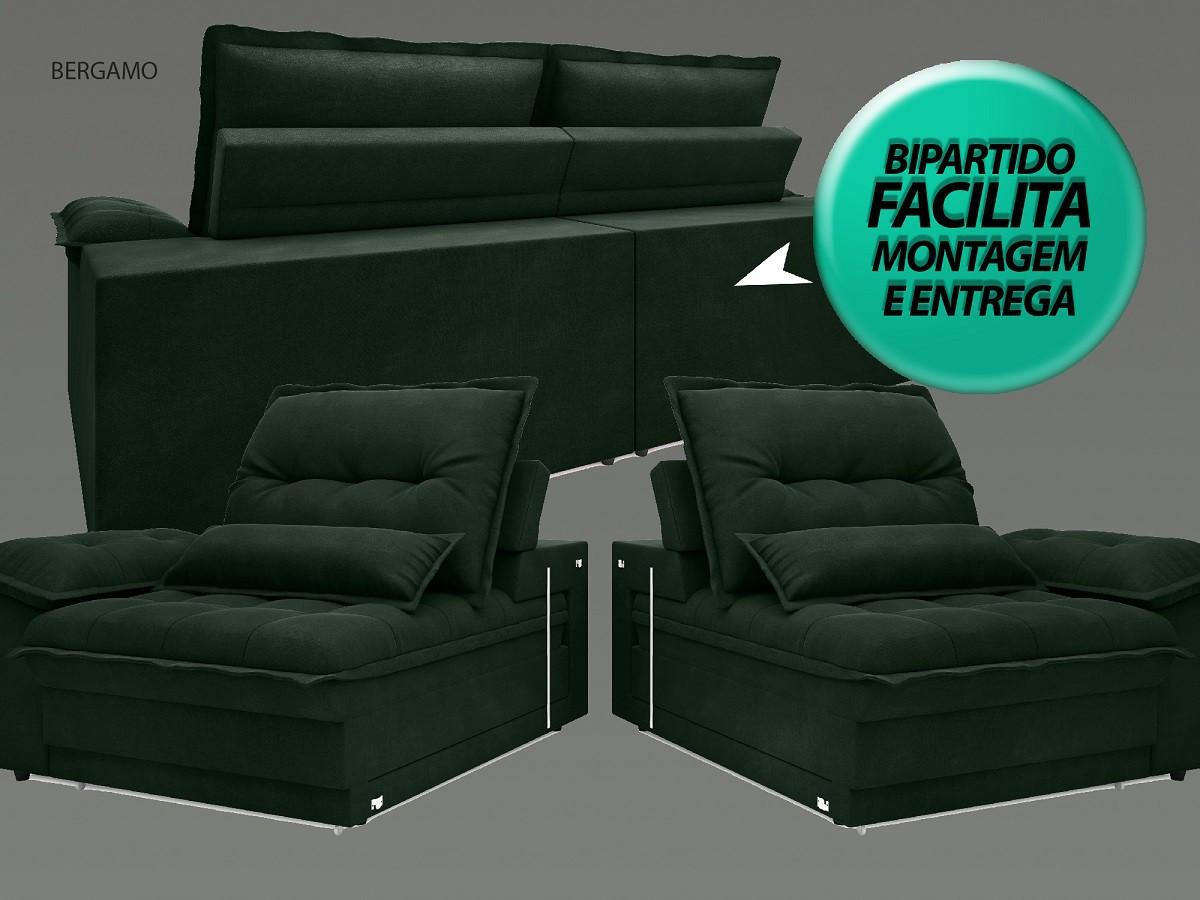 Sofá Bergamo 2,10m Assento Retrátil e Reclinável Velosuede Verde - NETSOFAS  - NETSOFÁS