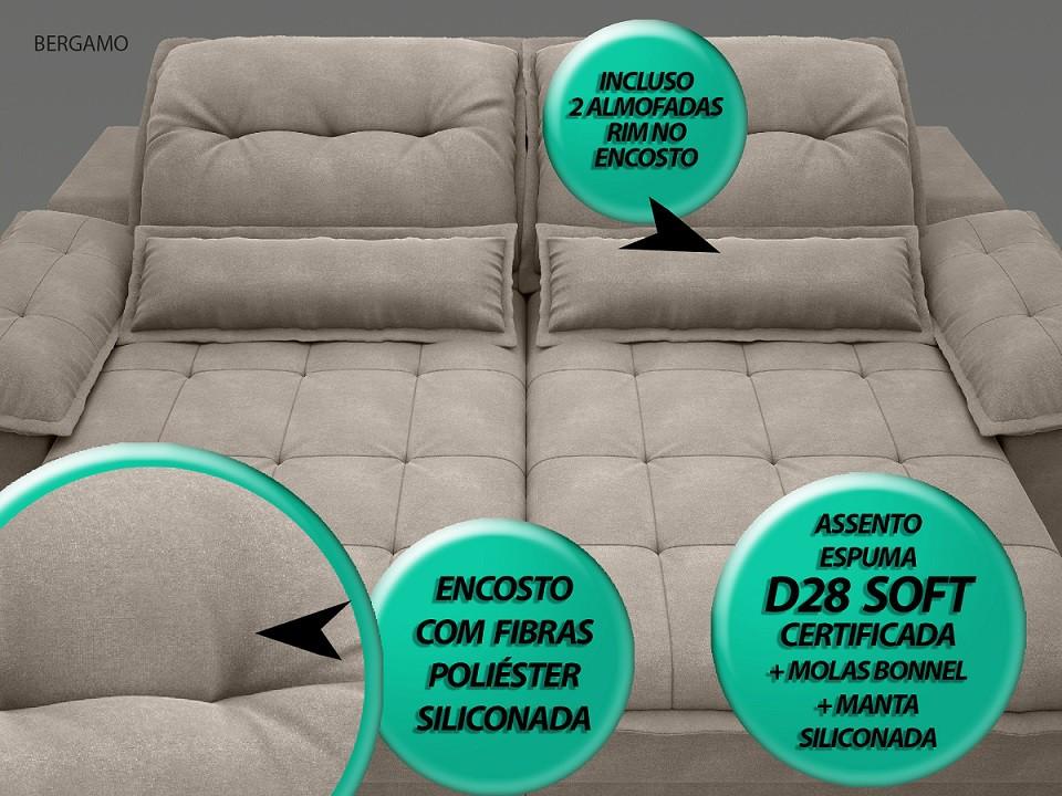 Sofá Bergamo 2,30m Assento Retrátil e Reclinável Velosuede Bege - NETSOFAS