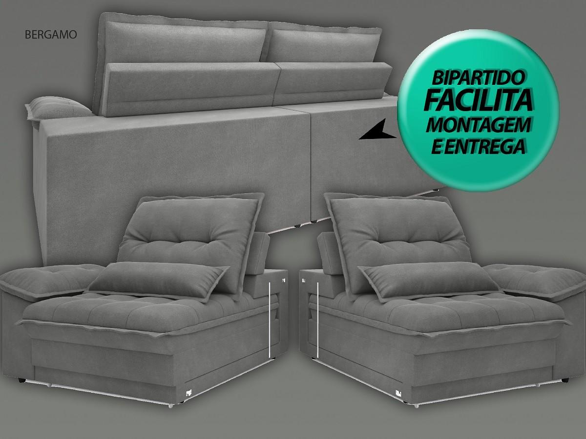 Sofá Bergamo 2,30m Assento Retrátil e Reclinável Velosuede Grafite - NETSOFAS