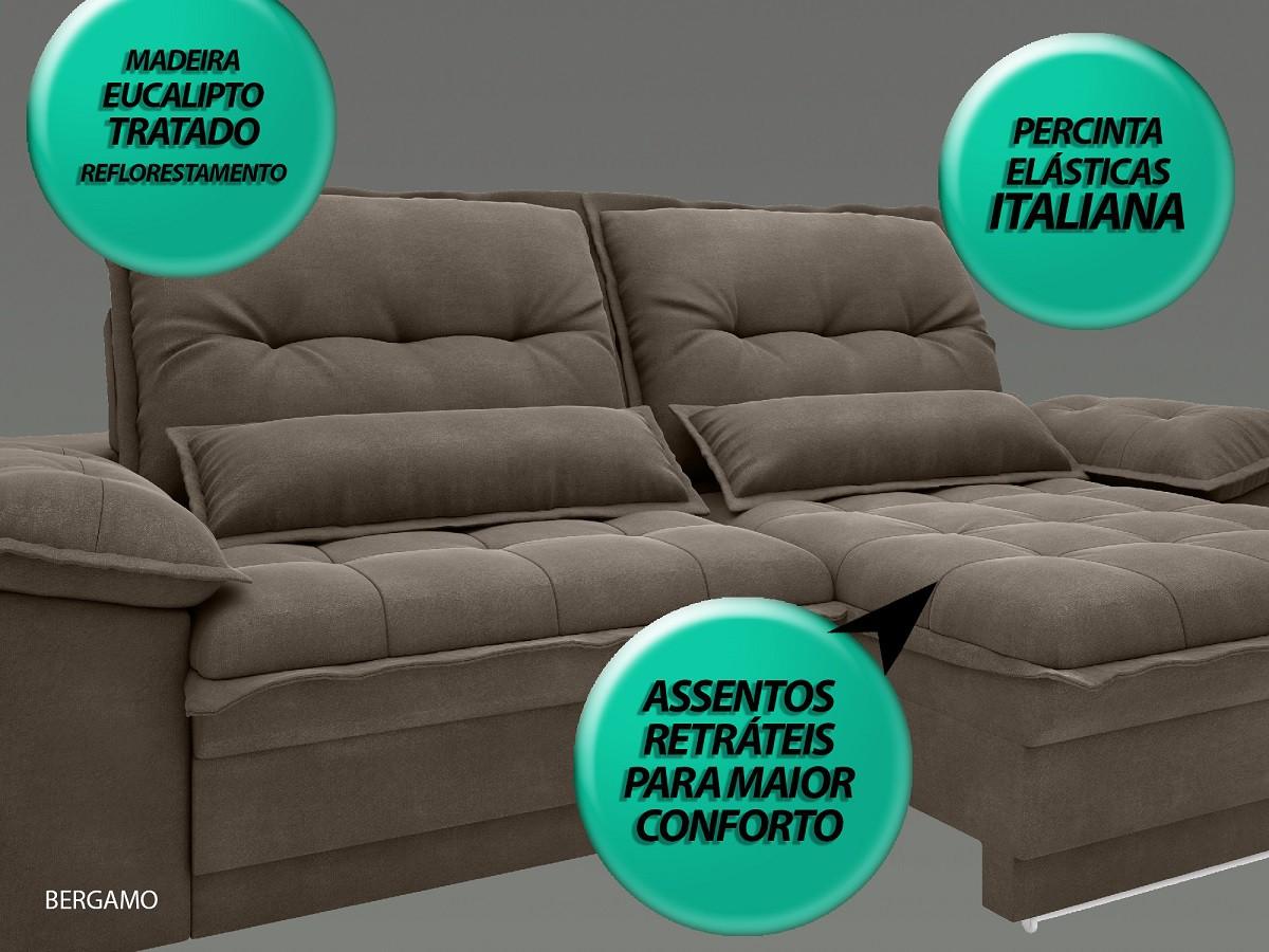 Sofá Bergamo 2,30m Assento Retrátil e Reclinável Velosuede Marrom - NETSOFAS