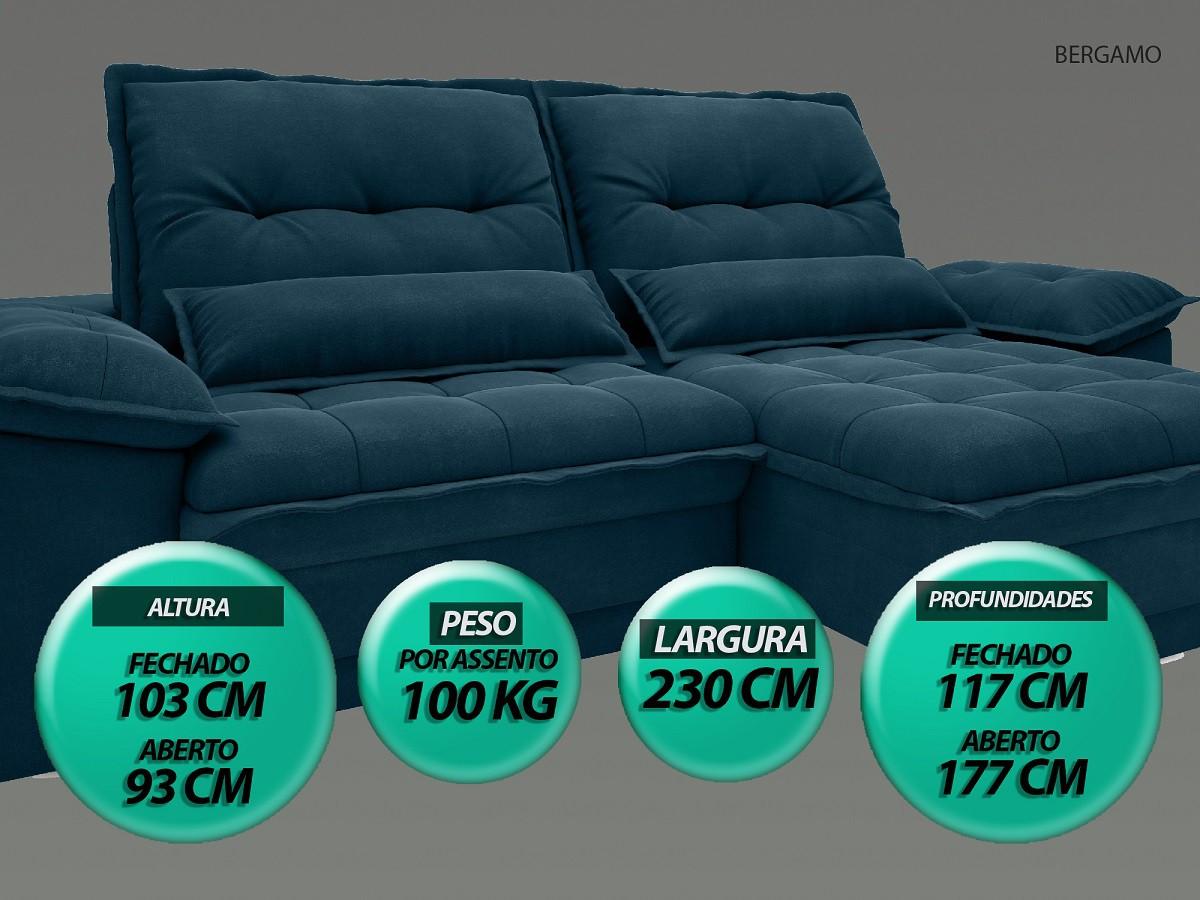 Sofá Bergamo 2,30m Assento Retrátil e Reclinável Velosuede Royal - NETSOFAS