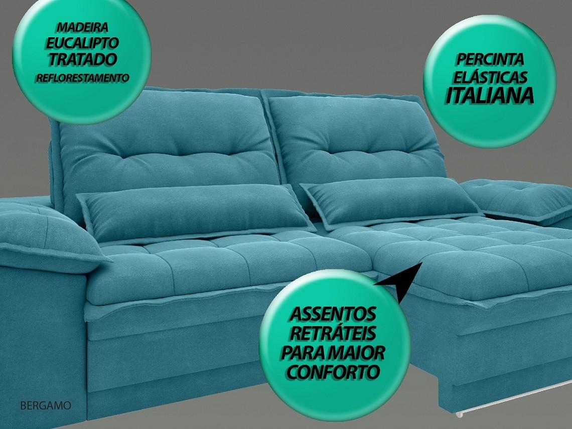 Sofá Bergamo 2,30m Assento Retrátil e Reclinável Velosuede Turquesa - NETSOFAS