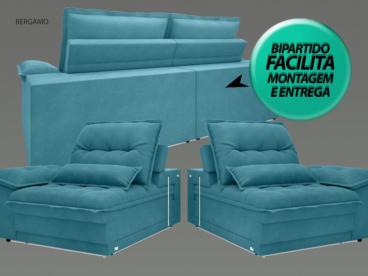 Sofá Bergamo 2,30m Assento Retrátil e Reclinável Velosuede Turquesa - NETSOFAS  - NETSOFÁS