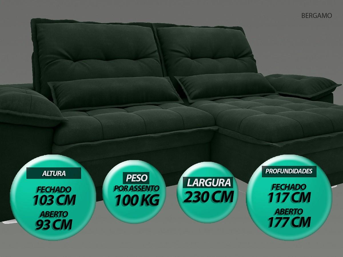 Sofá Bergamo 2,30m Assento Retrátil e Reclinável Velosuede Verde - NETSOFAS  - NETSOFÁS