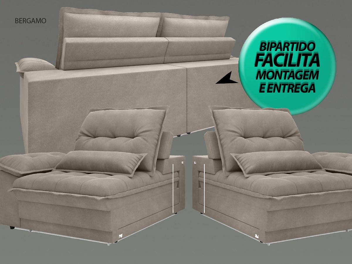 Sofá Bergamo 2,50m Assento Retrátil e Reclinável Velosuede Bege - NETSOFAS