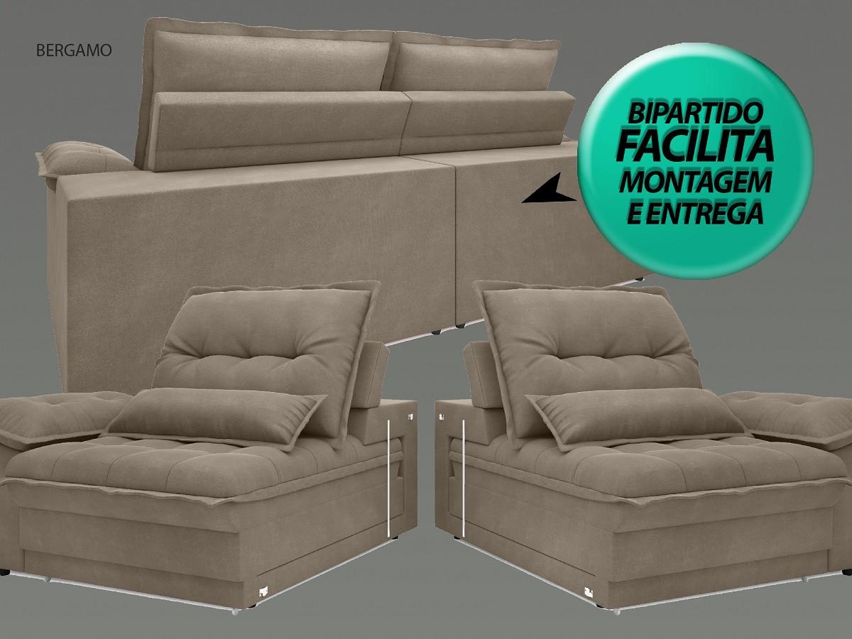 Sofá Bergamo 2,50m Assento Retrátil e Reclinável Velosuede Capuccino - NETSOFAS