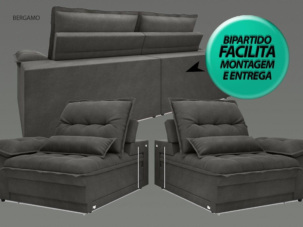 Sofá Bergamo 2,50m Assento Retrátil e Reclinável Velosuede Cinza - NETSOFAS