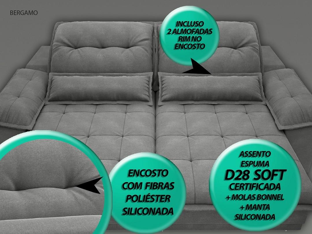 Sofá Bergamo 2,50m Assento Retrátil e Reclinável Velosuede Grafite - NETSOFAS