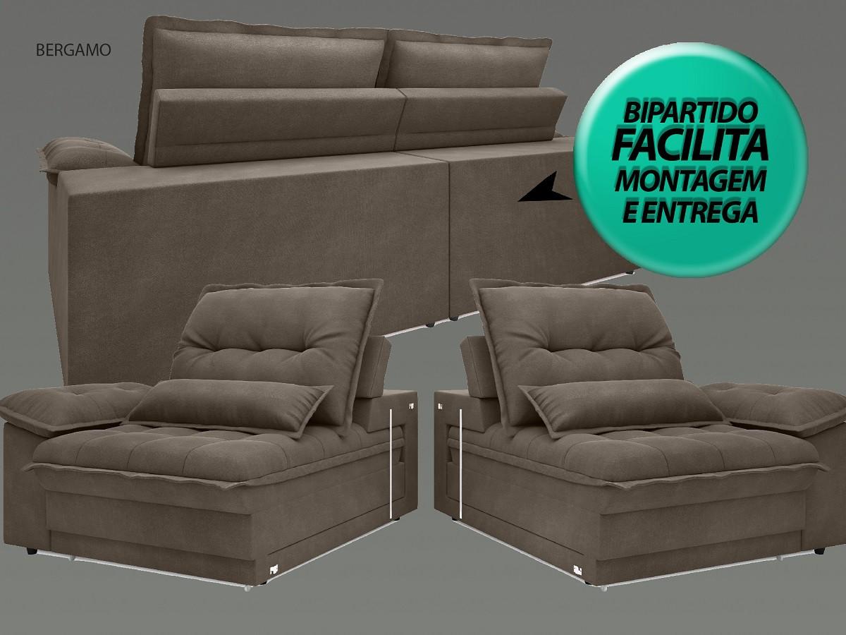 Sofá Bergamo 2,50m Assento Retrátil e Reclinável Velosuede Marrom - NETSOFAS